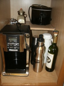 Cabinet housing the coffee maker.