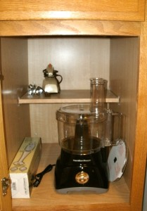 Lower cabinet...mixer, immersion blender, new food processor.