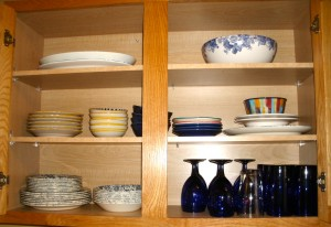 Upper cabinet, every day dishes and serving dishes.