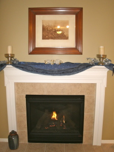 Blue and silver mantel.