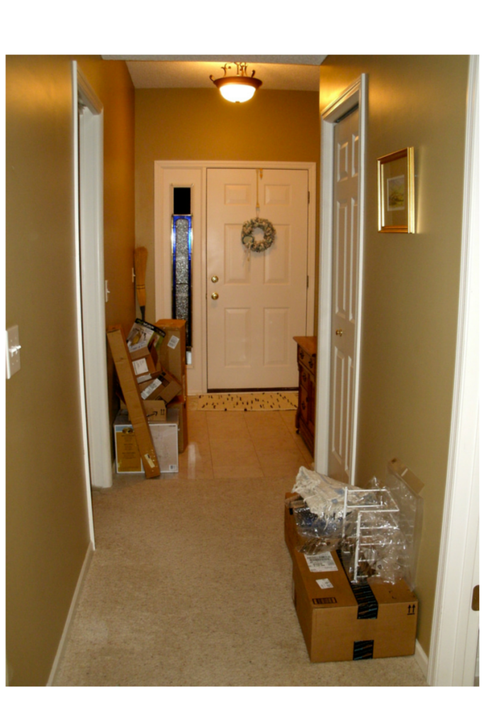 cluttered entry hall