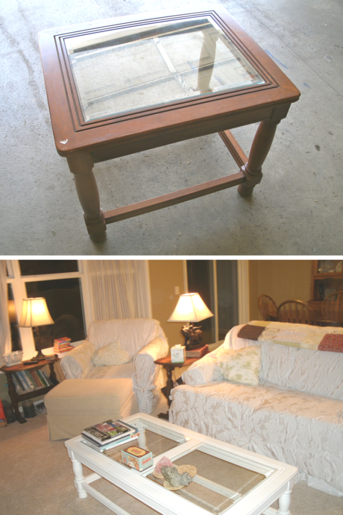 Assembled end table, and coffee table in use.