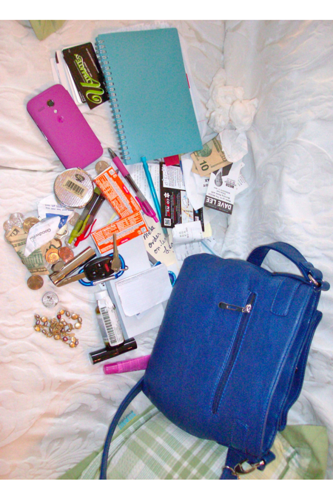 Purse in the process of clean-out.